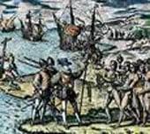 моряки Колумба, мужчины с оружием.
