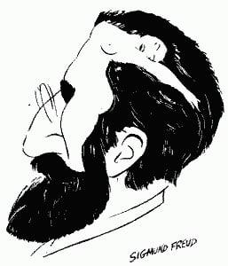 карикатура мужчины, автопортрет Фрейда, Фрейд