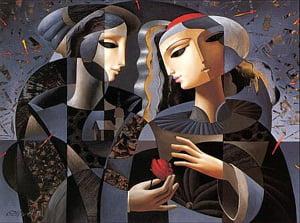 мужчина с цветком и женщина